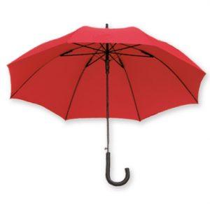 Dieser Regenschirm mit abgerundetem Griff ist mit eigenem Firmenlogo bedruckbar und ideal als Werbegeschenk auf Messen oder für Kunden.