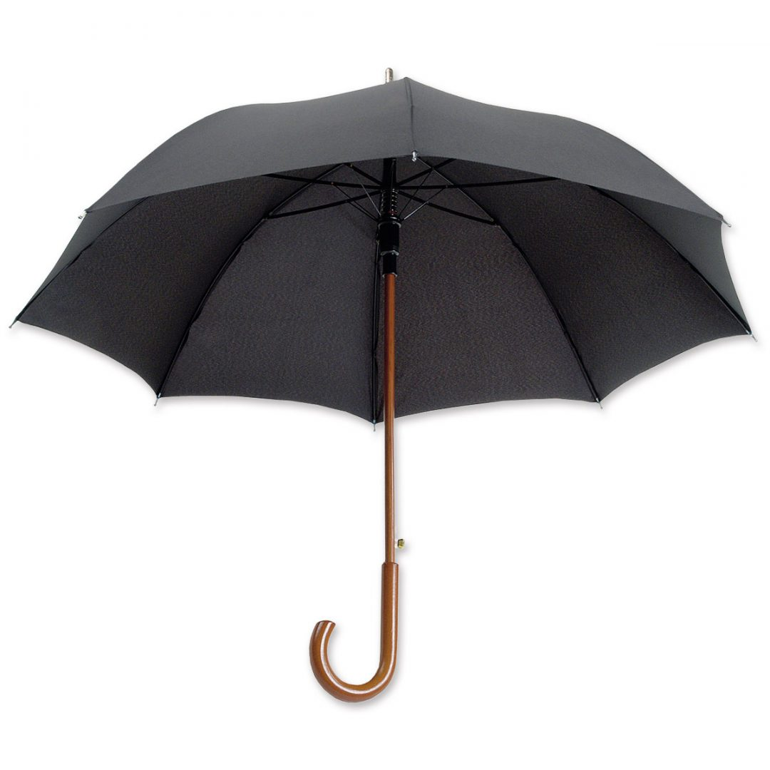 Regular Umbrella with Wooden Handle – 1026-01 (black)