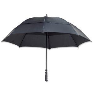 Dieser extra große Schirm hat eine Spannweite von 140cm und ist mit eigenem Logo ein idealer Werbeträger.