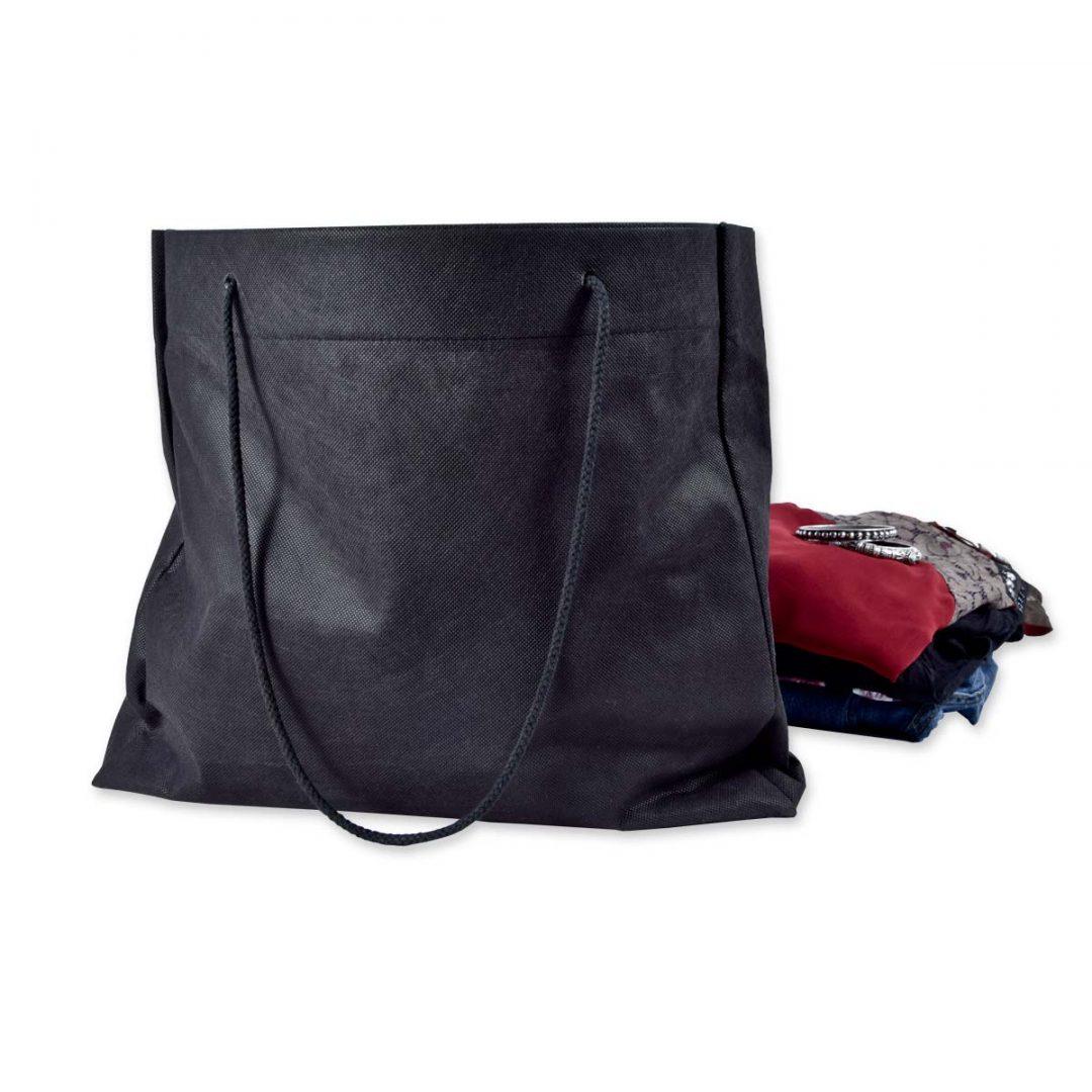 Drawstring bag, shopping tote for retail sales – 2185 (41 x 36,5 x 9 cm, black)