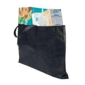 Große Einkaufstasche aus Vlies mit eigenem Logo als umweltfreundliche Alternative zu Plastik- und Papiertüten.