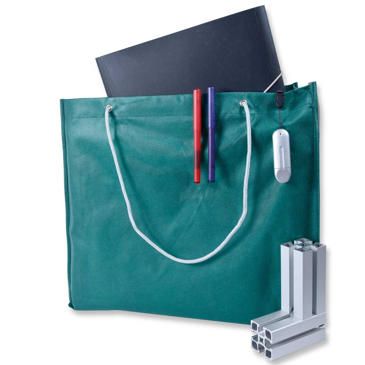 Shopping Bag with Cord Handles – 4002-22 (approx. 42 x 38 x 10 cm, Handles approx. 60 cm, dark green)
