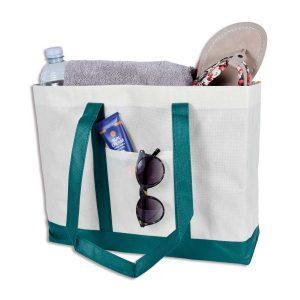 Sehr robuster und langlebiger Shopper mit kleiner Außentasche aus Vlies.